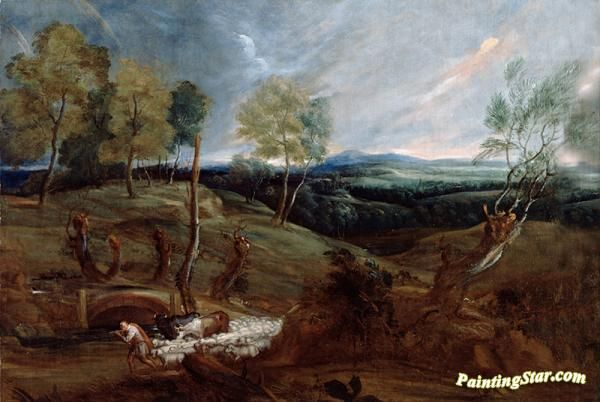 Sunset landscape with a shepherd and his flock Artwork by Anthony van Dyck Hand-painted and Art Prints on canvas for sale,you can custom the size and frame