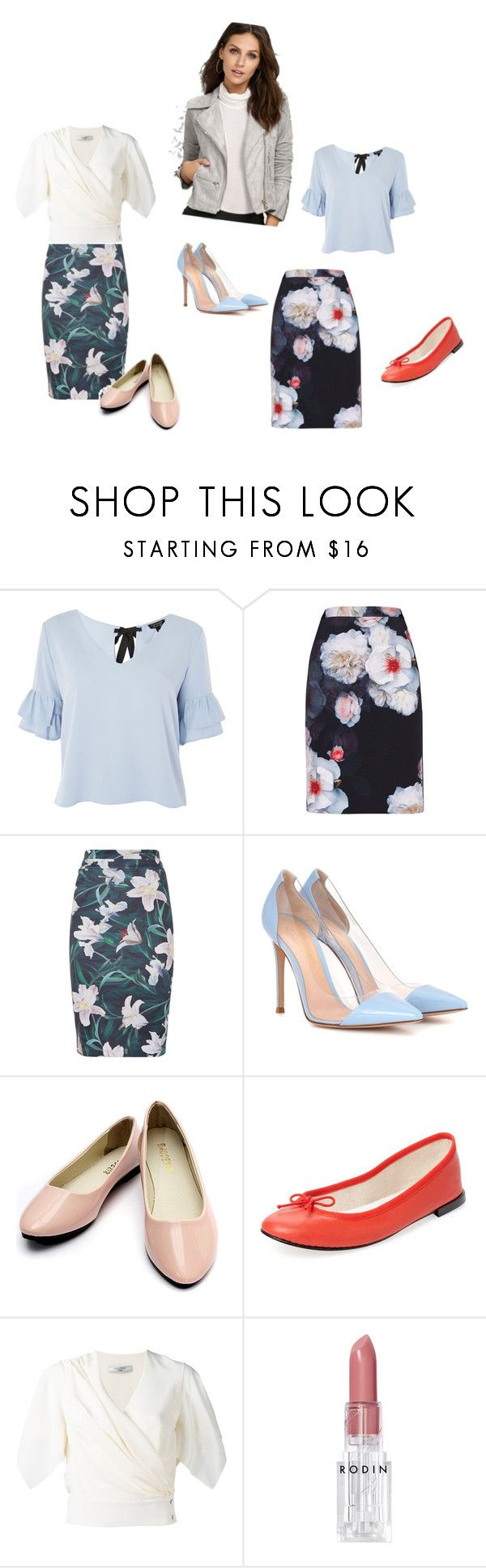 """""""Creative Femininity Work Outfits"""" by lesleyhudson on Polyvore featuring Topshop, Ted Baker, Gianvito Rossi, Repetto, Lanvin, Rodin and Olivaceous"""
