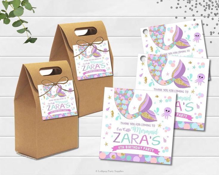 12X MERMAID TAIL THANK YOU FAVOUR GIFT TAGS LABELS LOLLY BAG BIRTHDAY PARTY  #personaliseditem #Birthday #Favours