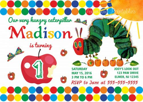 The 25 best Hungry caterpillar invitations ideas – Hungry Caterpillar Birthday Card