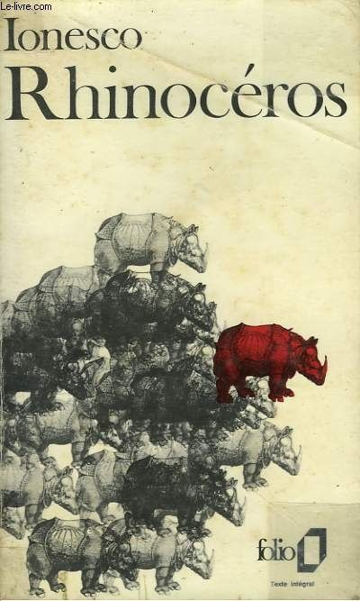 Eugène Ionesco. Rhinocéros. Book Cover.