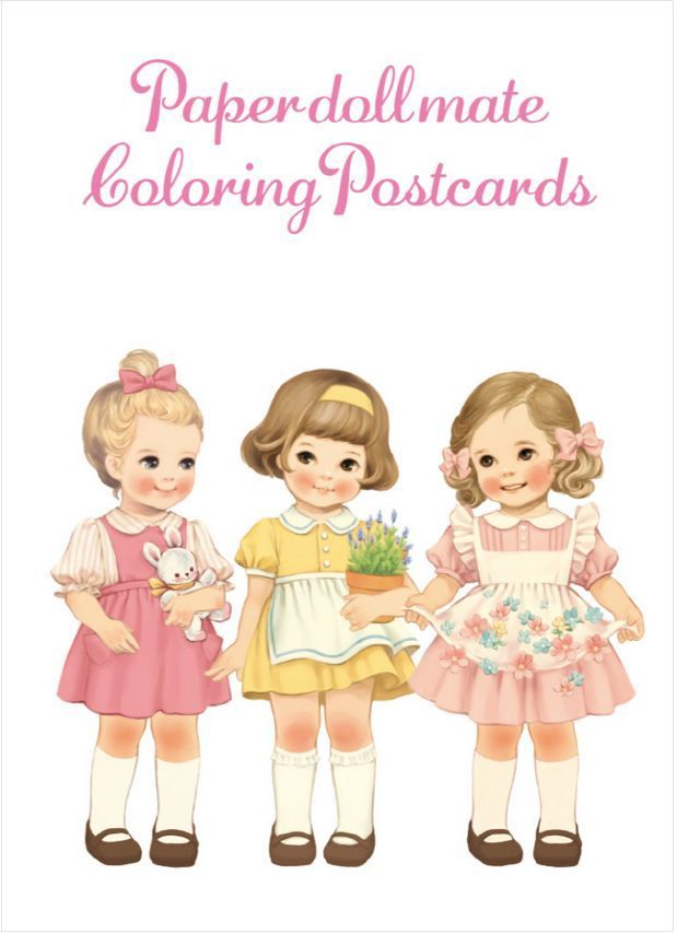 Paper Doll Mate Postcards Coloring Book Adult Gift Anti Stress Art Therapy Cuty