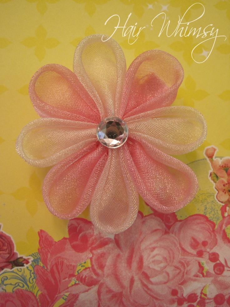 Tulle Kanzashi Flower Hair Clip by Hair Whimsy