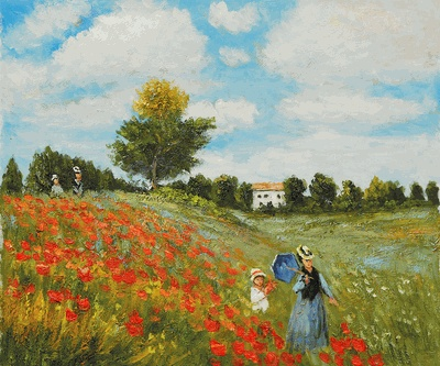 """In """"Poppy Field in Argenteuil,"""" Claude Monet painted his wife and son strolling together among the poppies – a beautiful and serene image of motherhood. #mothersday #art"""