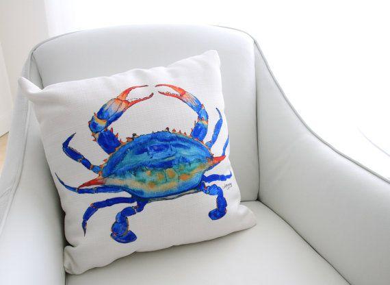 Crab Pillow, Sea Creature Pillow, Crab Decor, Nautical