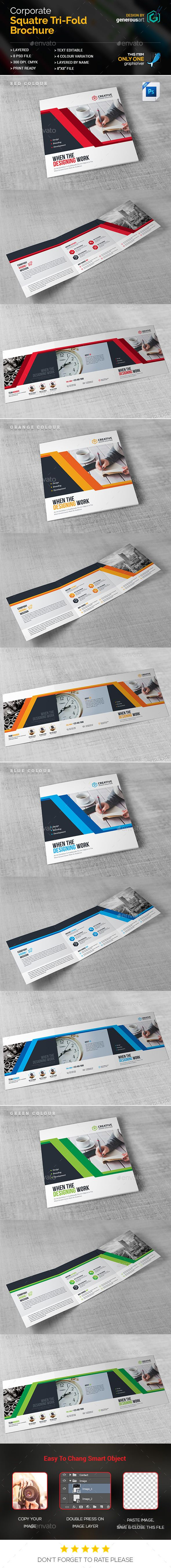Business Square Tri-Fold Brochure Template PSD. Download here: http://graphicriver.net/item/business-square-trifold/16776064?ref=ksioks