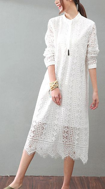 c529c237f2 Organic stand collar false two pieces lace clothes For Women Pakistani  Runway white tunic Dress summer