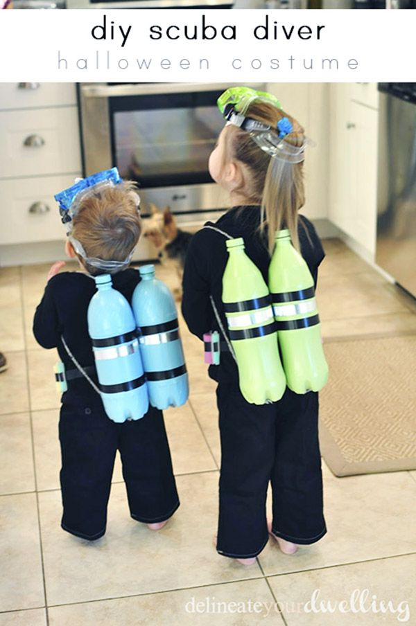 Last Minute DIY Kids Halloween Costumes -  Using 2 liter bottles to create amazing costumes.