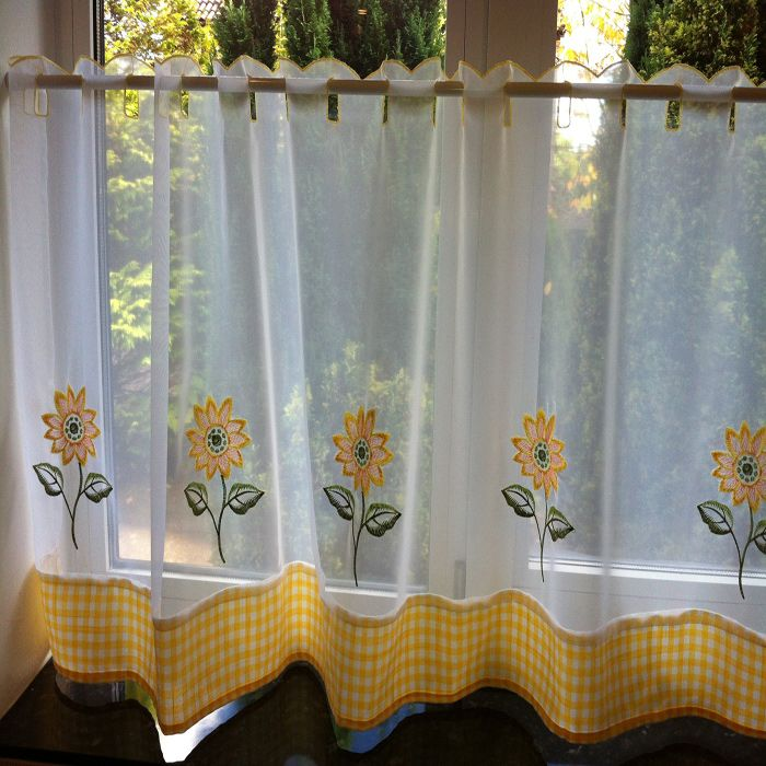 Sunflower Kitchen Stuff | Sunflower White and Yellow Cafe Net | Kitchen Textiles | Kitchen and ...