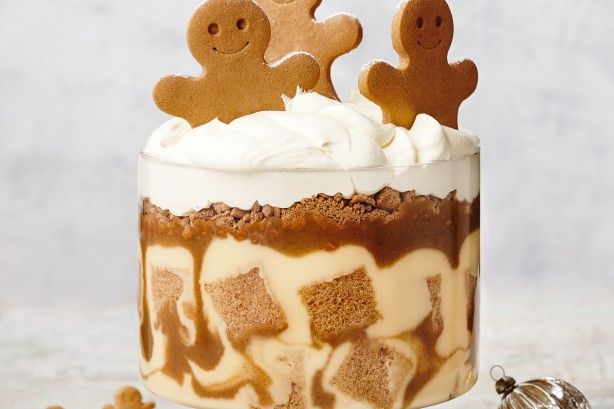 The whole family will fall in love with this cute gingerbread man trifle with spiced caramel sauce.