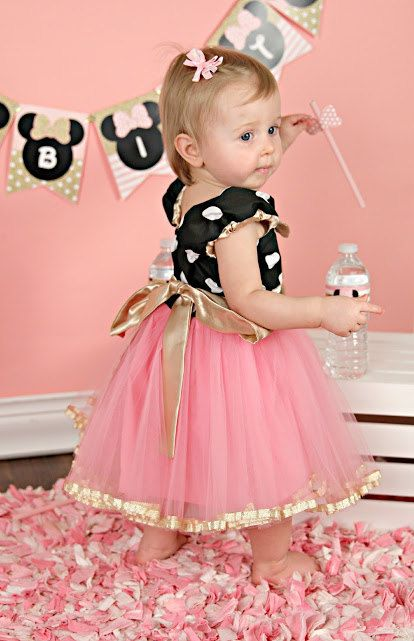 Pink And Gold Birthday Dress Minnie Mouse By