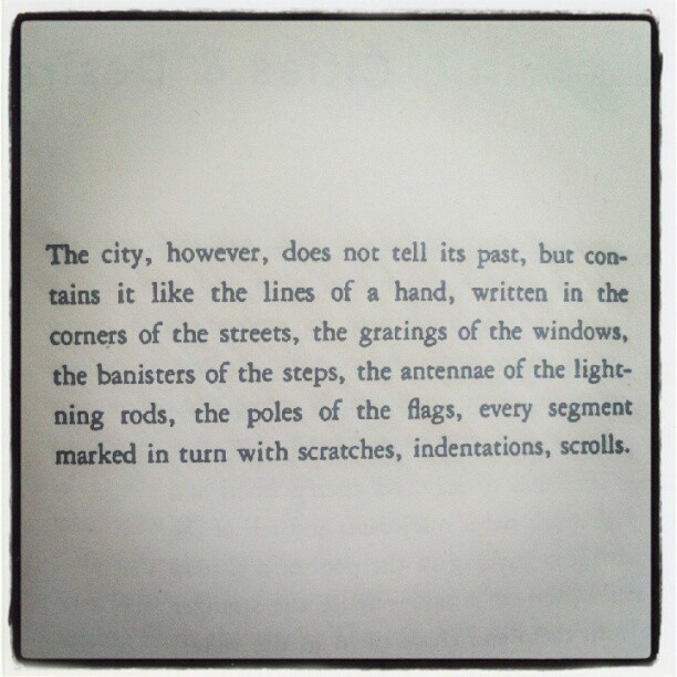 Italo Calvino's Invisible Cities mocks Pinterest.  The whole book is quotable.  Like the sorcerer's apprentice, once you begin, you don't know how to stop.  -E.N.