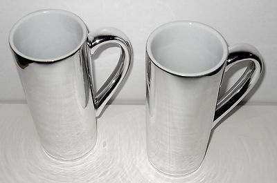 Mug Cup Tall Skinny Food Network Silver Finish x 2 Unique Coffee Tea Latte Cocoa