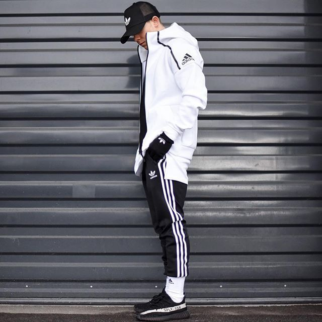 thanks everyone for 15k! all adidas for this fit. today im wearing a white jacket hoodie zne, jogger track pants, white socks traxion menance and @kanyewest 350 black/white. good day everybody