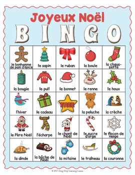 french christmas activity french christmas bingo game french for kids christmas bingo. Black Bedroom Furniture Sets. Home Design Ideas