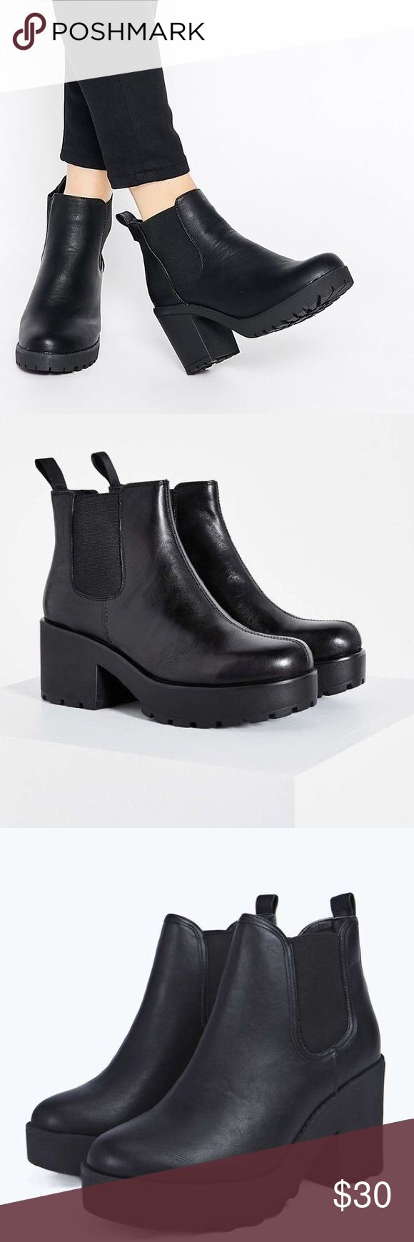 Platform Chelsea Boots Faux leather platform Chelsea boots from H&M with a black rubber sole. Slip on style and super comfortable and easy to walk in. Lightly worn. H&M Shoes Platforms