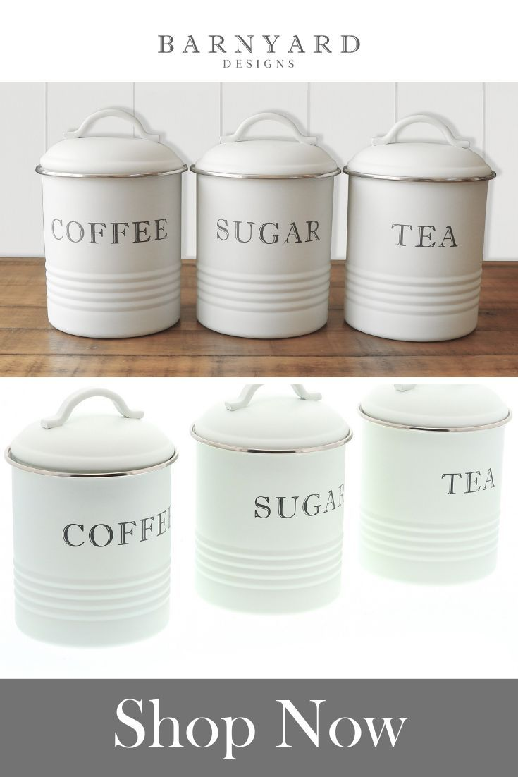 Kitchen Canisters With Airtight Lids Coffee Tea Sugar White Set Of 3 Kitchen Canisters Kitchen Containers Rustic Canisters