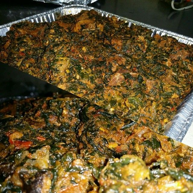 This is an order we prepped for a customer. This is #VegetableSoup also known as #Eforiro #nigeriansoup #eba #fufu #poundedyam #whiterice #jasminerice