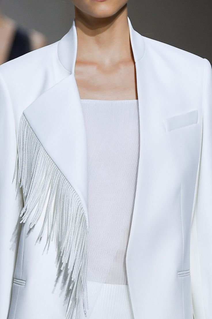 White blazer with asymmetric lapel & fringe trim; fashion details // Boss Women Spring 2016