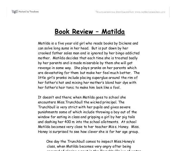 book report template grade 6