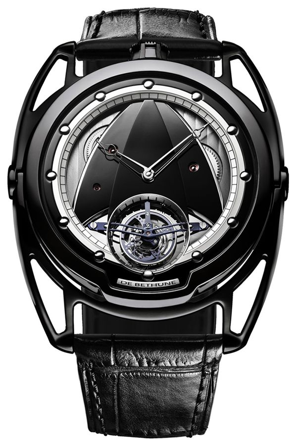 There have been many versions of the now iconic DB28 from De Bethune - each science fiction inspired and with a clear Star Trek Starfleet Command logo style shape on the movement, and here on the dial as well. This beautiful version is the DB28T Black in black colored titanium with a tourbillon and amazing futuristic design that retains the passion of traditional watch making. debethune.ch