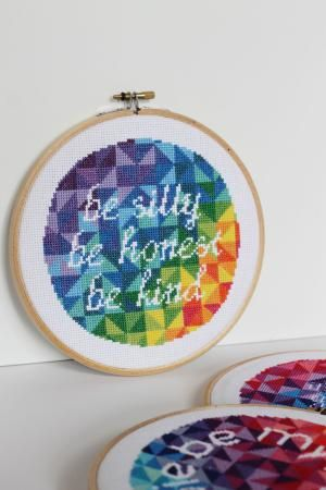 10 Rainbow Embroidery Projects to Inspire Your Stitching: Modern Text Rainbow Stitching