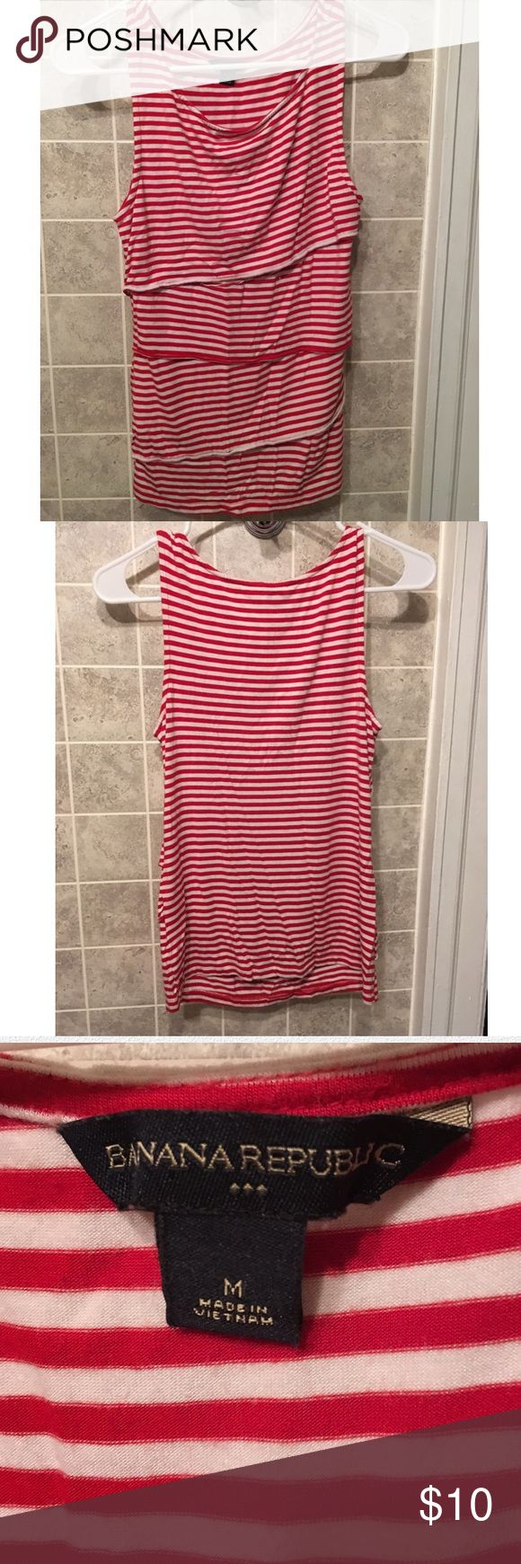 Banana Republic red&white stripe tiered top size M Banana Republic red and white stripe tiered top size medium. Back of the top is plain and does not have the tier style. Stretchy top and very flattering. Excellent used condition. Looks great alone or under a cardigan. Banana Republic Tops Tank Tops
