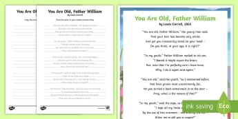 You Are Old Father William Handwriting Poem Activity Pack-Australia - English, handwriting ,Australia, poetry, poem,