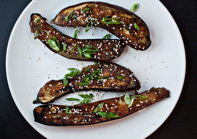 """Ginger-Miso-Glazed Eggplant  Serve this irresistible sweet-salty dish as an hors d'oeuvre at your next party, or enjoy it over steamed rice for a """"meaty"""" vegetarian dinner. The recipe calls for Japanese eggplants, which have thin skin and sweet flesh."""