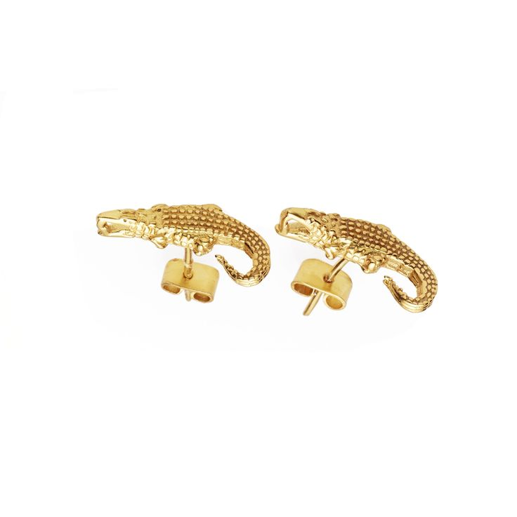 Crocodile earrings - $89. Small stud earrings crafted in 22k gold plate, fashioned into the shape of crocodiles. Earrings feature an oxidised finish to bring out the details in each cast. Lovingly designed in Sydney by Australian designer jewellery label Pushmataaha. www.savethelastpinker.com.au/shop/crocodile-earrings/