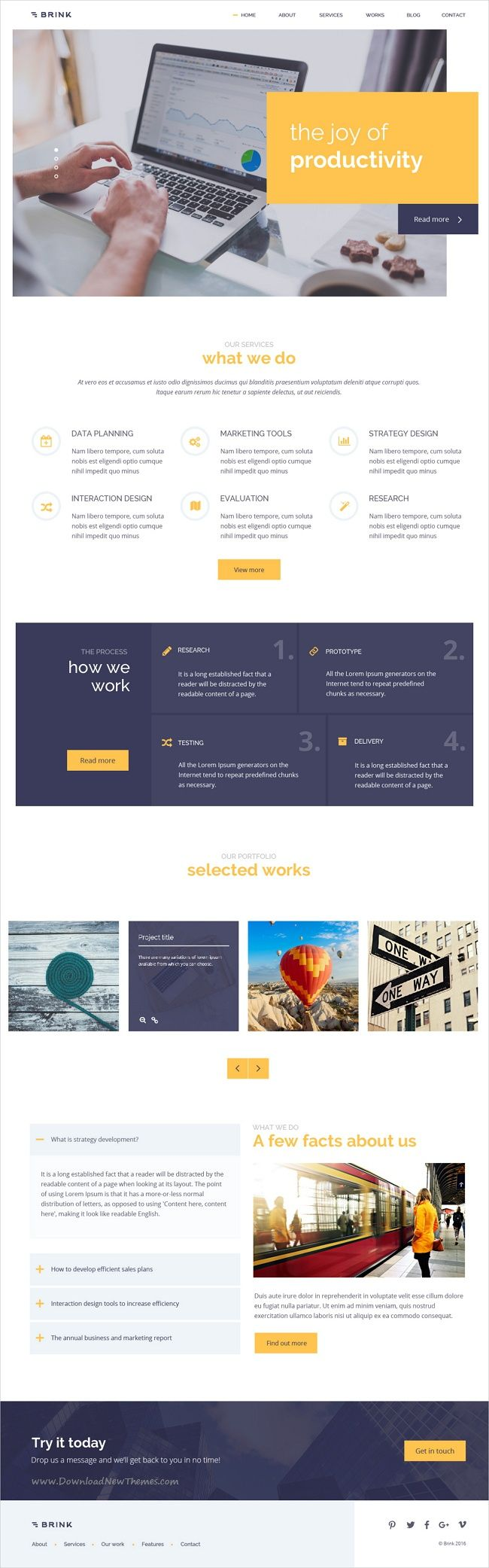 Brink is a creative and fresh business #PSD template for corporate or #marketing and #finance websites with 4 homepage variations and 18+ organized PSD files download now➩ https://themeforest.net/item/brink-creative-business-psd-template/19343455?ref=Datasata