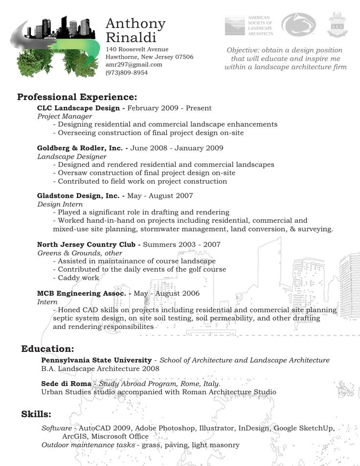Landscape Architect Resume Templates | Bathroom Design 2017-2018