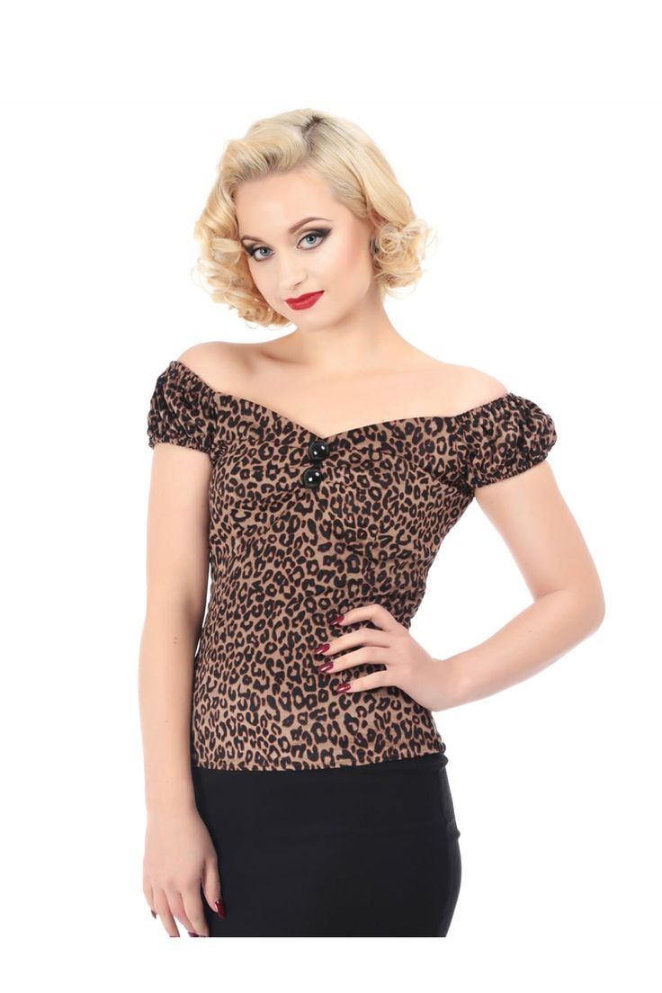 The classic Dolores Gypsy Top is now in a new Leopard print velvet fabric. The Dolores is a classic 1950s style gypsy top with sweetheart neckline, pleated bust detail with buttons, and elasticated sleeves that can be worn on or off the shoulder. Pair with our Joanie Pencil skirt for a classic rockabilly look.
