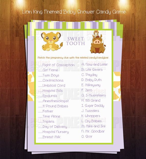 lion king themed baby shower sweet tooth game instant download