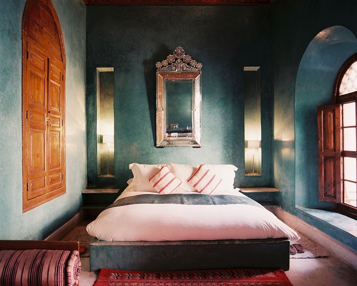 Moroccan Bedroom; Photo: Riad El Fenn; not a fan of that wood color against the walks but live the walls