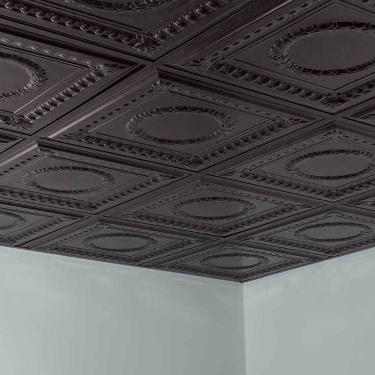 Fasade Ceiling Tile-2x2 Suspended-Rosette in Smoked Pewter ...
