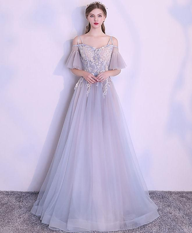 8a2811ac0ec64 Unique gray tulle lace prom dress