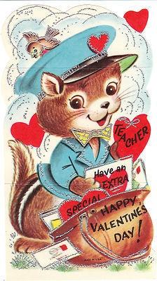 Vintage Valentine Card Squirrel Postman Silver Trim