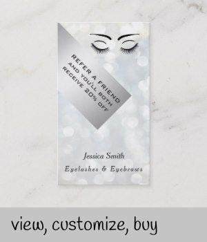Referral card chic bokeh eyelashes & eyebrows | Zazzle.com