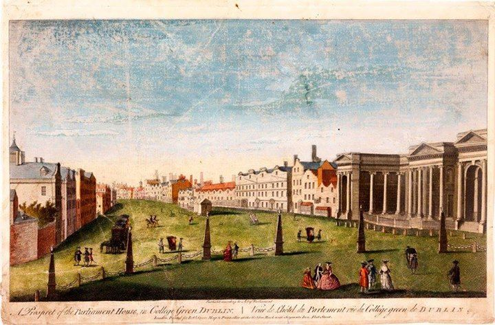 Wistorical - College Green ca 1753 by Joseph Tudor of Dame Street. Original Dutch-gabled houses (aka Dutch Billies) opposite Parliament House, pair of sedan chairs operating on the green, and equestrian statue of King William of Orange just left of the Watch House. 1-3 Dame St included a Chocolate House frequented by members of the Irish Houses of Parliament. By the 1760s it was converted into a prestigious club named for Denis Daly, an eccentric Galway landowner, politician & friend of…