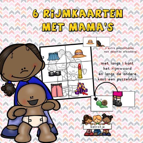 rijmen met mama van katrotje  6x6 kaarten die de kleuters al rijmend een mama laten maken.