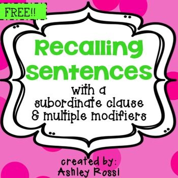 FREE! Recalling Sentences with a Subordinate Clause and Multiple Modifiers provides 32 cards to improve a student's ability to remember spoken sentences of increased complexity in meaning and structure.see a complete version here: Recalling Sentences: Expressive & Receptive Language with 40 more cards, worksheets for complex sentences and more games includedThis skill is required for following academic instructions, note taking, etc.