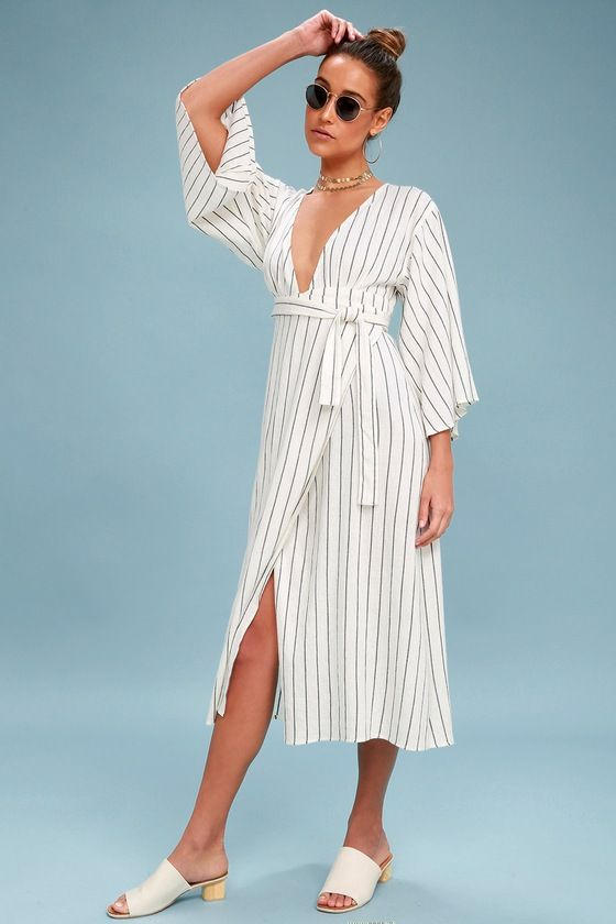 893ff6e00580 Take a stroll along the coast in the Robe Life Black and White Striped Wrap  Midi Dress! Wide kimono sleeves