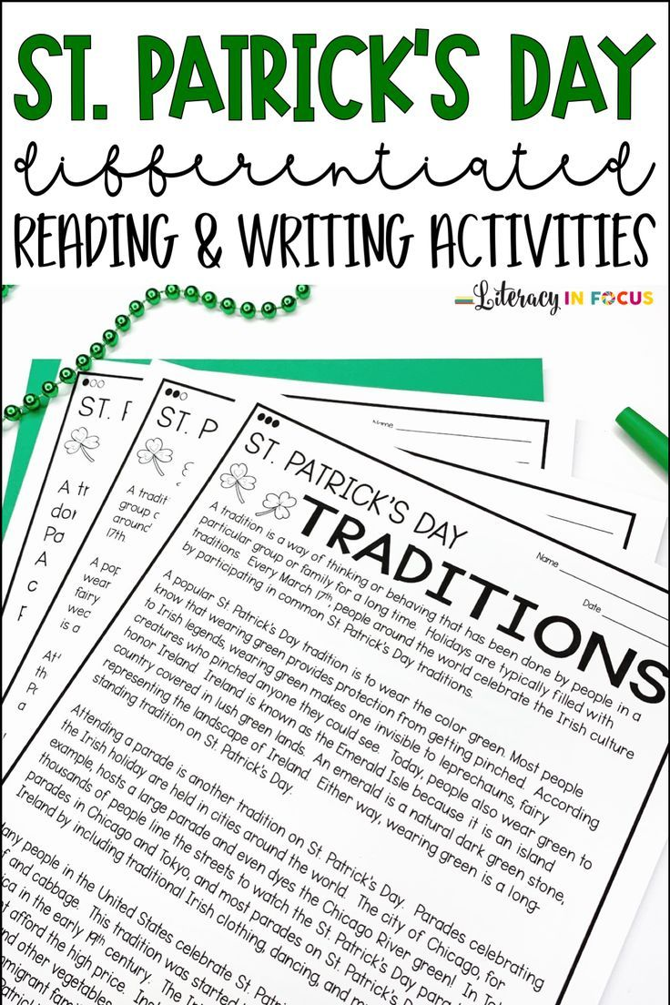 St Patrick S Day Reading Comprehension And Writing Activities In 2020 Writing Activities Reading Comprehension Informational Text [ 1104 x 736 Pixel ]