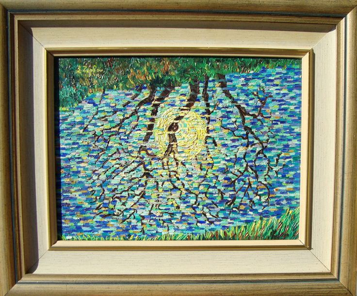 Full moon oil painting ,Signed Original,,by Xanthie Zervou,Free Shipping.