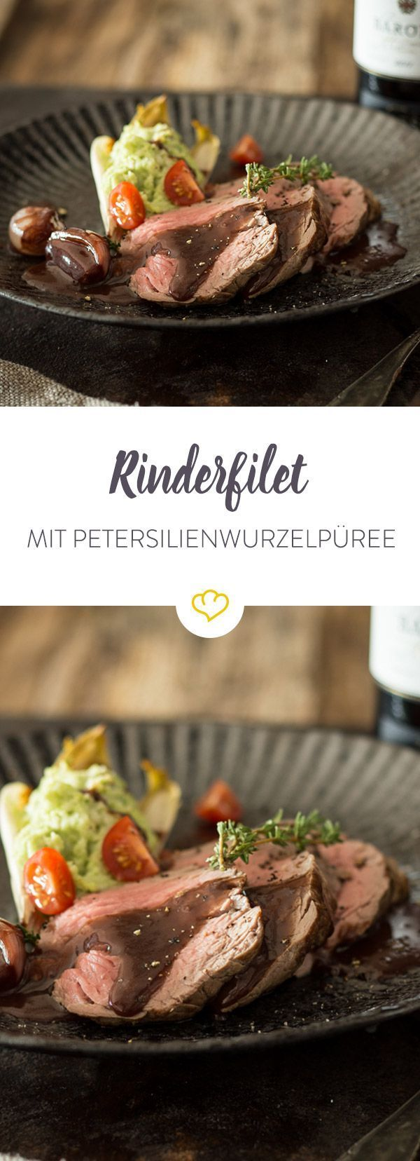 Zart gegartes Rinderfilet gesellt sich zu aromatischem Petersilienwurzel-Püree und karamellisierten Zwiebeln, die ein Barolosauce gebadet haben.