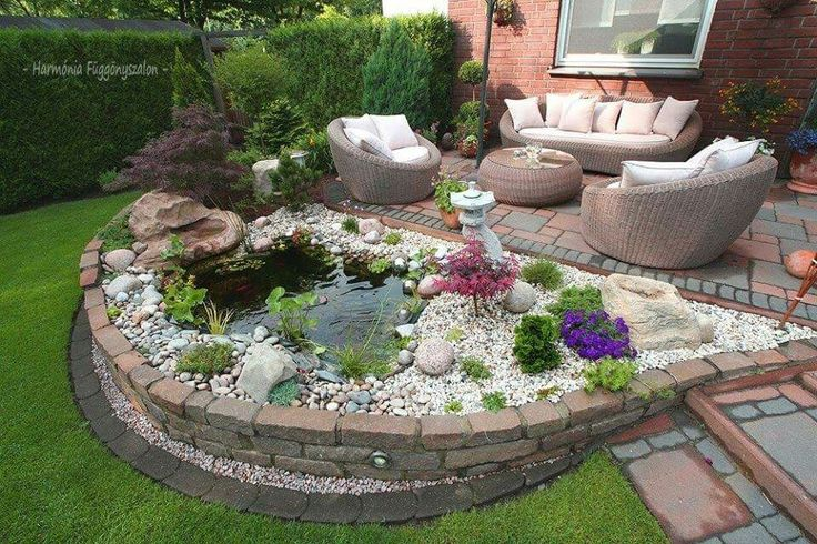Patio with pond.  #patio #pond #outdoorliving