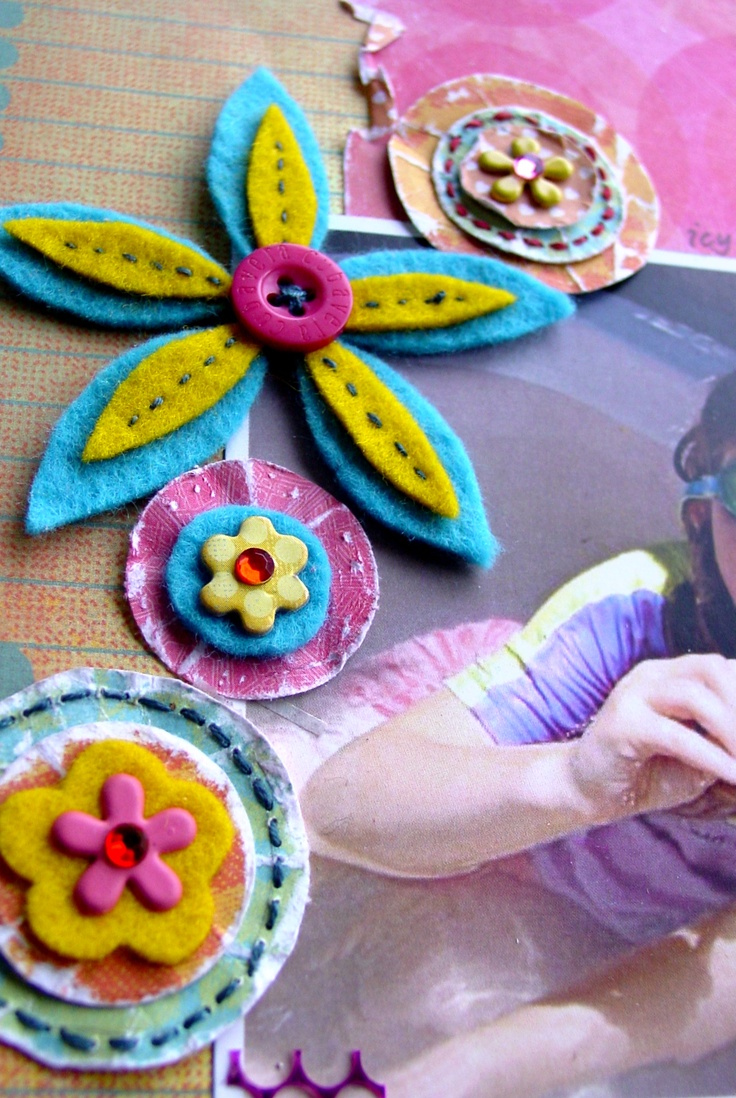 Scrapbook ideas with flowers - Scrapbook Detail Felt Flowers