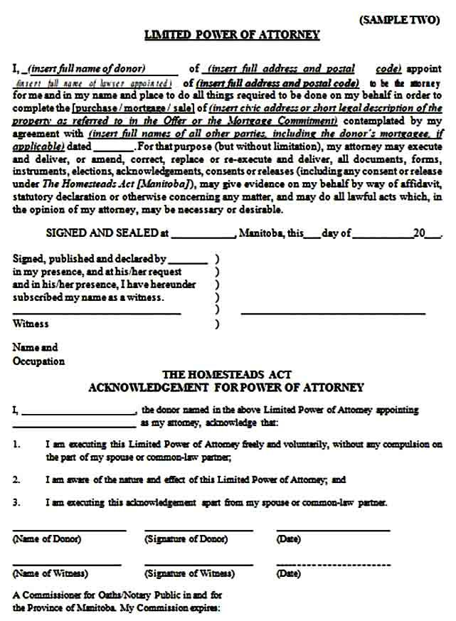 Sample Limited Power Of Attorney Form Power Of Attorney Form