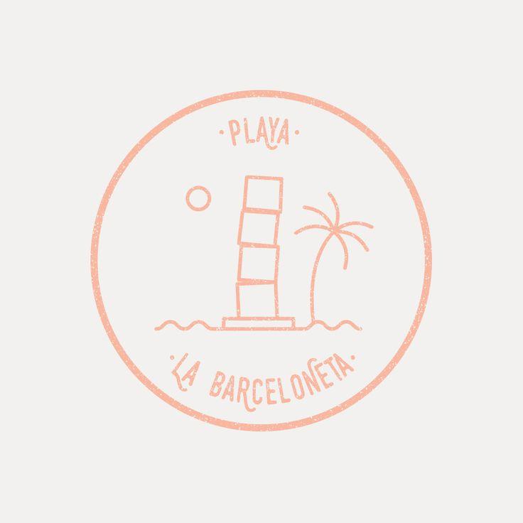 Some illustrations I created for my first trip in Barcelona.  #illustration #graphicdesign #graphics #stamp #barcelona #spain #travel #berlin #portfolio #playa #barceloneta #beach #palm #sun #summer